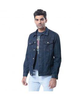 Men's Dark Denim Jacket with Muted Blasting & Silver Buttons