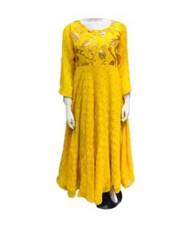 Women's Leave Embroidered Yellow Kurti