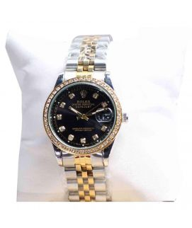 Gold And Silver Women's Wrist Watch Black Dial