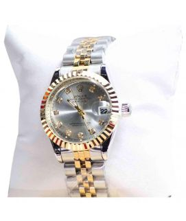Gold & Silver Stainless Steel Wrist Watch For Women