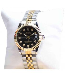 Gold & Silver Stainless Steel Wrist Black Dail Watch For Women