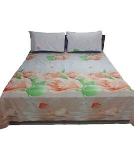 Beige Flower Printed Bedsheet With Pillow Covers