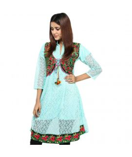 Women's Sea Green Net Embroidered Kurti With Pajama