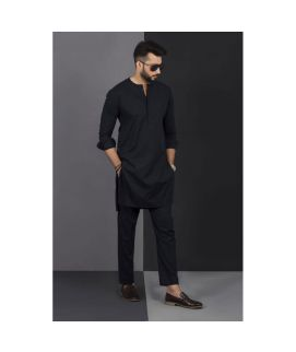 Men's Black Vestir De Kurta