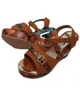 Women's Brown Wedges with Floral Stripes & Front Buckle