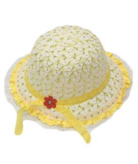 Yellow Flower Style Hats For Girls