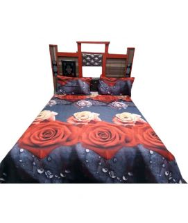 Red Rose With Black Bedsheet With Pillow Covers