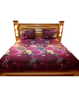 Dark Purple Flower Printed Bedsheet With Pillow Covers