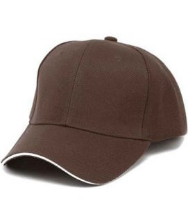 Casual Baseball Solid Color Blank Visor Cap Brown