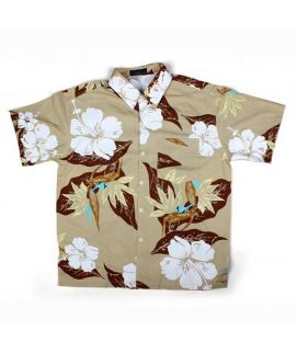 Beige Flower Printed Shirt For Boys