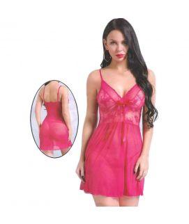 Women's Net Lace Babydoll Pink Nighty