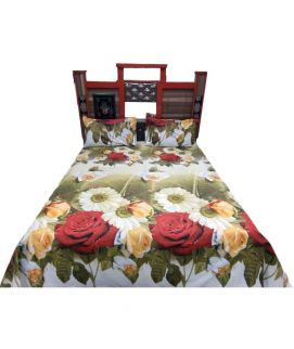 White Digital Printed Bedsheet With Pillow Covers