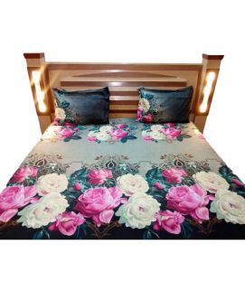 Pink Rose With Black Bedsheet With Pillow Covers
