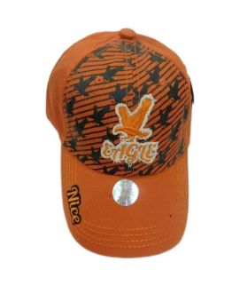 Orange Eagle Printed And Pink New Casual Fitted Hats And Caps For Men