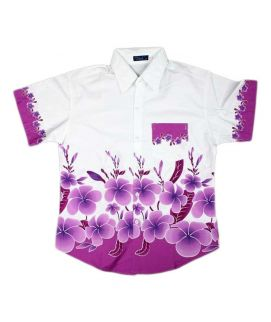 Purple Printed Flowers Shirt For Boys
