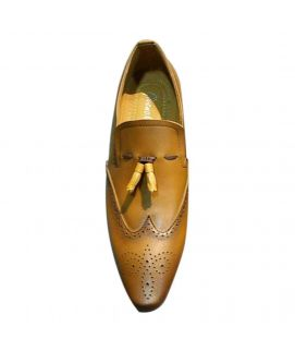Men's Brown Leather Wrinkle Oxfords Shoes