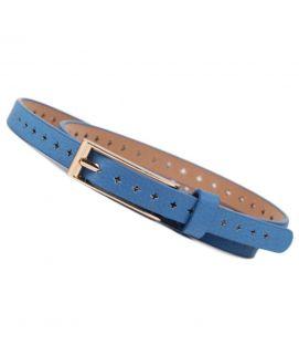 Women's Blue Leather Skinny Thin Narrow Buckle Belt