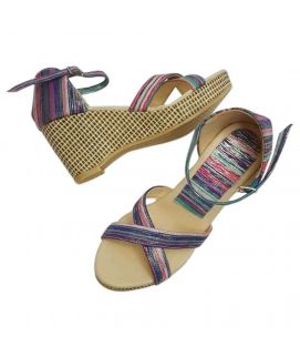 Women's Wedges Blue with Shiny Stripes