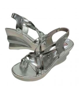 Women's Shiny Silver Wedges