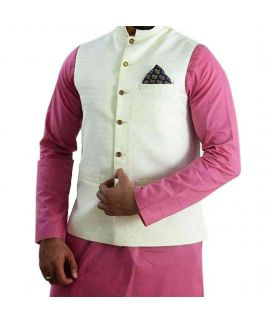 Pink Cotton Kurta With Cream Waistcoat