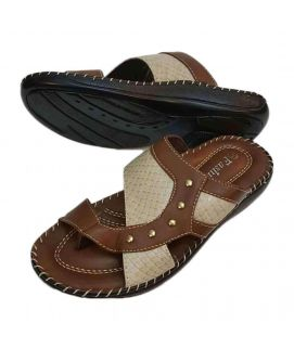 Mens Bold Look Slippers Brown & Fawn