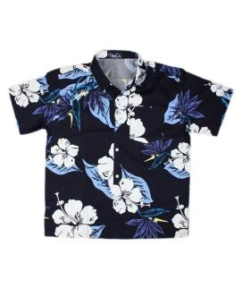 Black Shirt With White Flowers For Boys