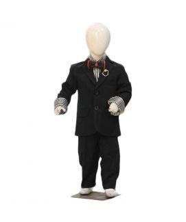 Boys Black 3 Piece Coat Pant Suit