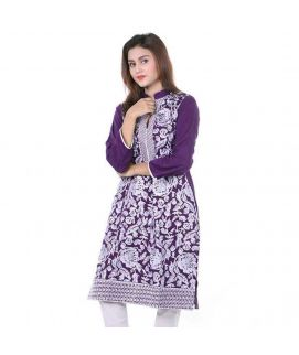 Women's White Flower Embroidered Kurti With Pajama
