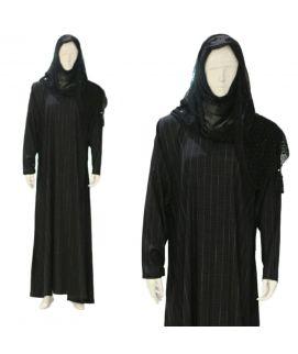Women's Black Checkered Design Abaya