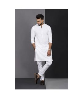 Men's Vestir De White Chicken Kurta