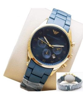 Blue Chain Strap and Golden Dial Watch for Womens