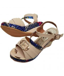 Women's White Wedges Inn With Floral Digital Printed
