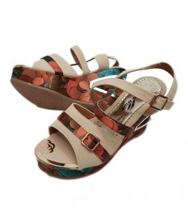 Women's White Wedges with Floral Stripes & Front Buckle