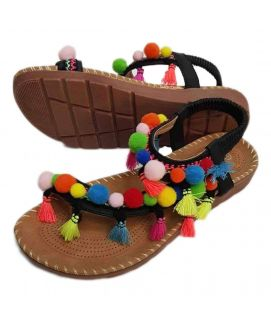 Women's Thumbies Shoes With Multi Floral & Brown Suedes Strap