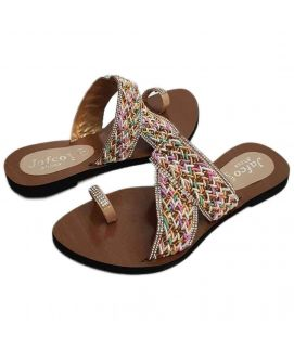 Women's Stylish Brown Jafco Slippers