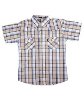 Check Style Cream Shirt For Boys