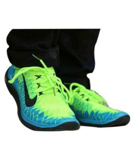 Men's Yellow And Blue Sports Shoes