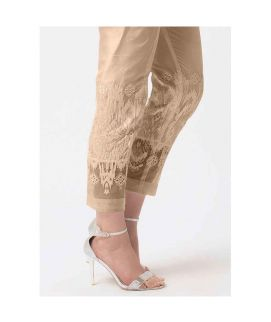 Women's Brown Tissue Embroidered Cigarette Pant