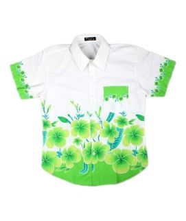 Green Printed Flowers Shirt For Boys