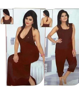 4Pc Bridal Nightwear Set Maroon