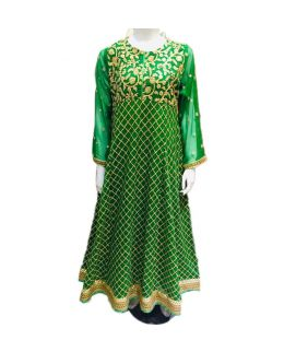 Women's Leave Embroidered Green Kurti