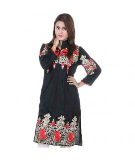Women's Red Rose Embroidered Black Kurti With Pajama