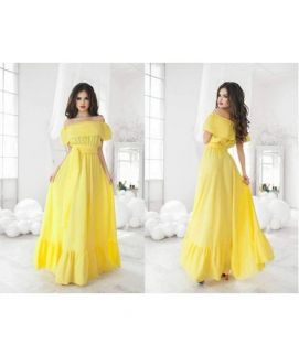 Women's Off Shoulder Brief Style Dress Yellow