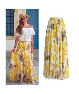 Women's Yellow Flower Print Skirts