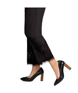 Women's Tissue Circle Embroidery Black Cig Pant