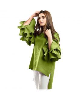 Women's Lollypop Flower Green Shirt