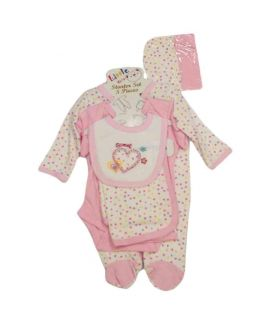 New Born Baby 7 Pieces Pink Suit