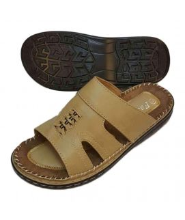 Mens Light Brown Leather Slippers