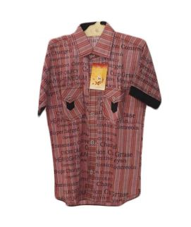 Black Linen With Maroon Casual Shirts For Boys