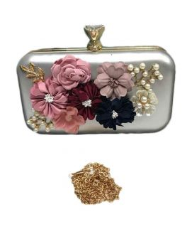Silver Clutch With Shoulder Chain For Women